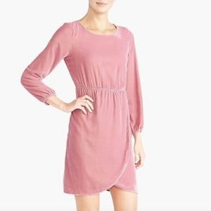 J. Crew Pink Velvet Wrap Holiday Party Dress Sz 6